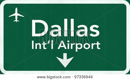 Dallas Forth Worth Usa International Airport Highway Road Sign