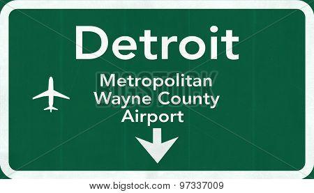 Detroit Usa International Airport Highway Road Sign