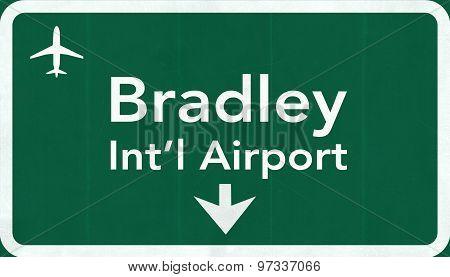 Hartford Bradley Usa International Airport Highway Road Sign 2D