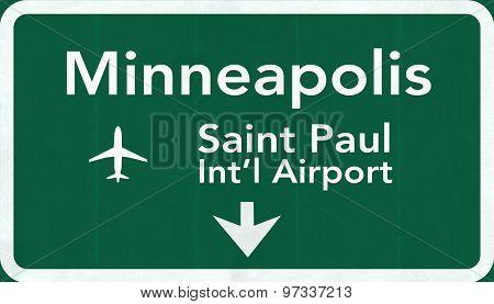 Minneapolis Usa International Airport Highway Road Sign