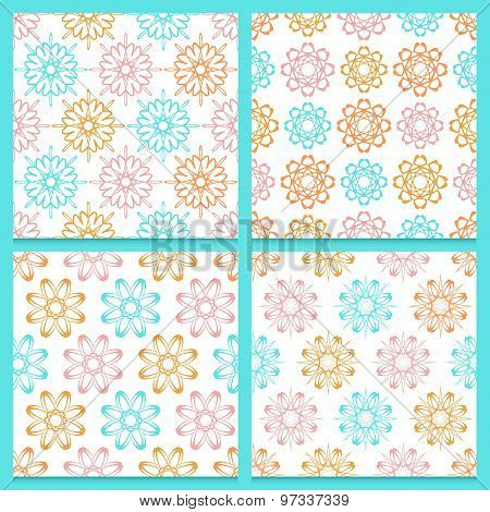 Pink, Blue And Orange Flowers On White Background, Set Of Seamless Patterns