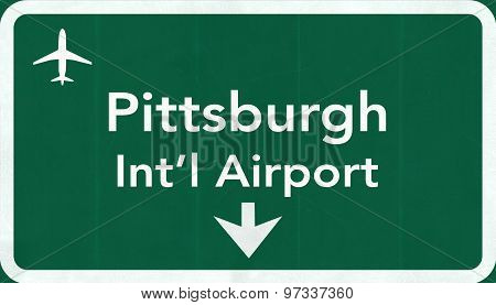 Pittsburgh Usa International Airport Highway Road Sign