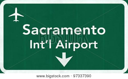 Sacramento Usa International Airport Highway Road Sign