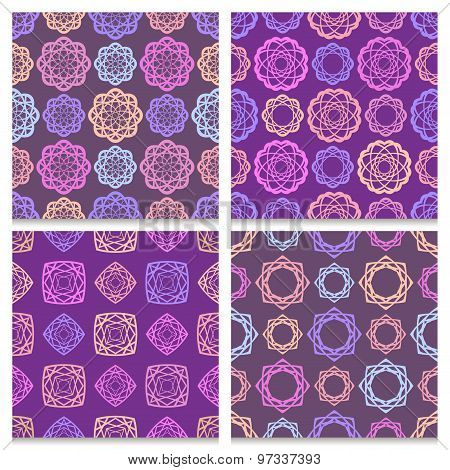 Set Of Four Violet And Brown Seamless Patterns With Multicolored Geometric Elements