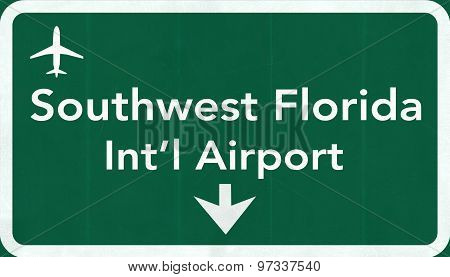 Southwest Florida Usa International Airport Highway Road Sign