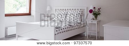 Double Bed In White