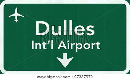 Washington Dc Dulles Usa International Airport Highway Road Sign