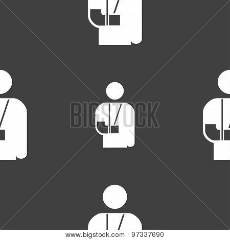 Broken Arm, Disability Icon Sign. Seamless Pattern On A Gray Background. Vector