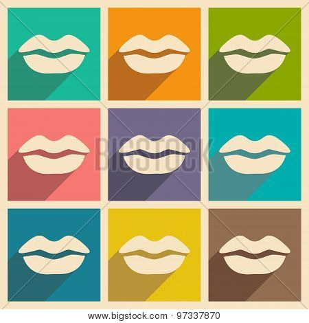 Flat with shadow concept and mobile application lips kiss
