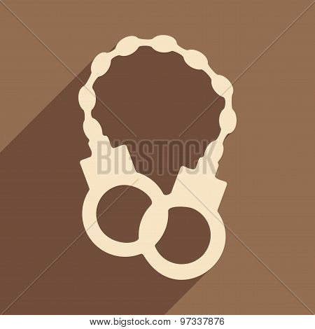 Flat with shadow icon and mobile application handcuffs