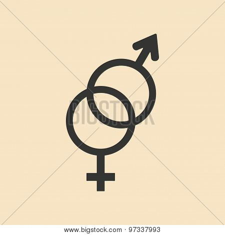 Flat with shadow icon and mobile application sexual signs