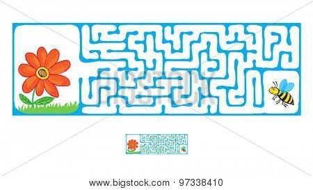 Vector Maze, Labyrinth education Game for Children with Flying Bee and flower.