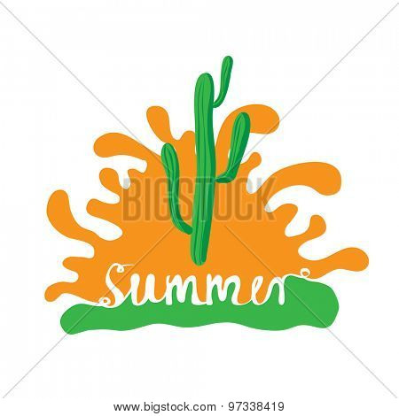 cactus at sunset, vector logo illustration