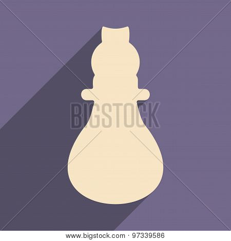Flat with shadow icon and mobile application lightbulb