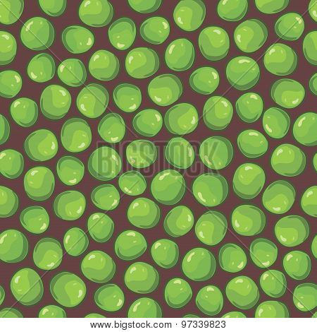 vector seamless pattern with green peas