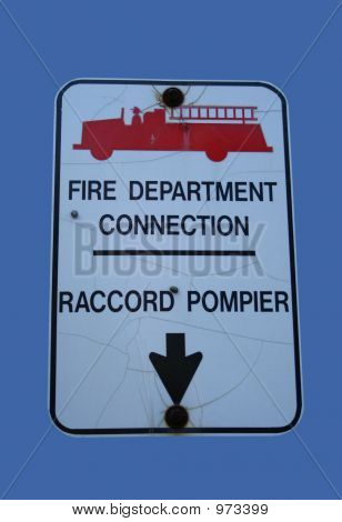 Bilingual Fire Department Connection Sign
