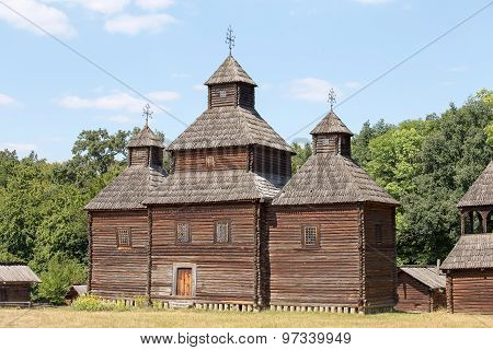 Wooden Ukrainian Antique Orthodox Church In Summer . Pirogovo Museum, Kiev, Ukraine