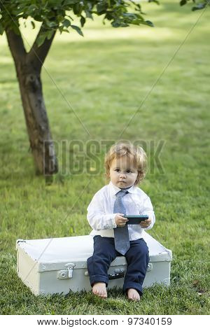 Male Kid With Vintage Briefcase