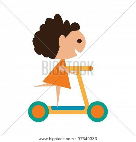 Flat with shadow icon and mobile application girl scooter