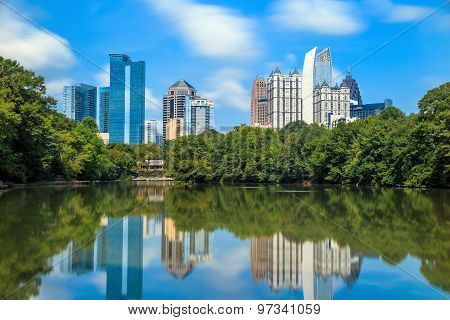 Skyline And Reflections Of Midtown Atlanta, Georgia