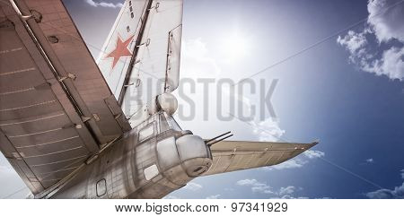 Old Soviet bomber in clouds
