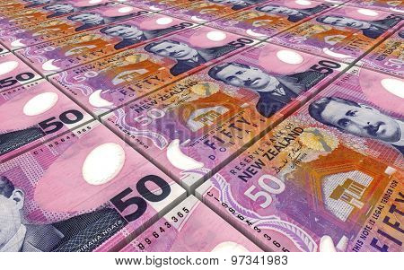 New Zealand dollar bills stacks background.