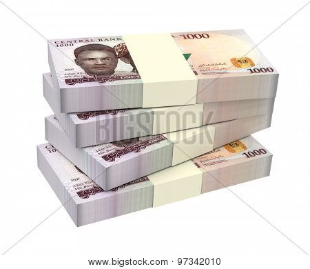 Nigerian nairas isolated on white background. Computer generated 3D photo rendering.