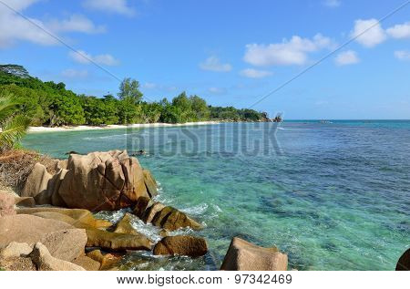 Granite Rocky Beaches On Seychelles Islands, La Digue, Anse Severe