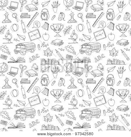 Back to school seamless pattern of kids doodles with bus, books,