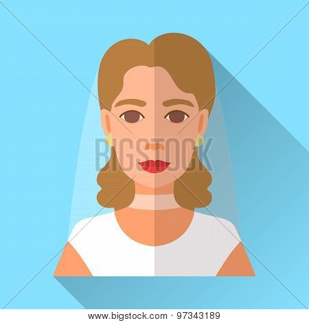 Wedding Day Bride, Blue Square Flat Icon With Shadow
