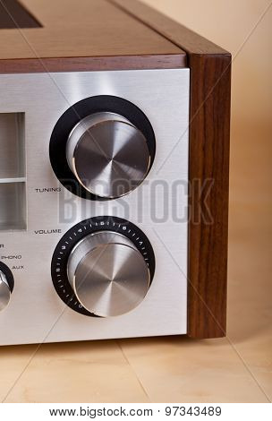 Vintage Stereo Radio Receiver Knobs Closeup