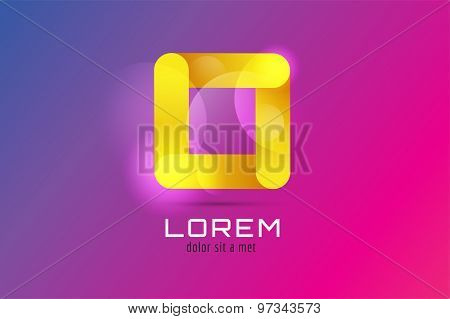 Vector square abstract logo template. Corner geometric and symmetric symbol, trendy icon, creative idea or glossy button. Company logotype. Stock illustration icon