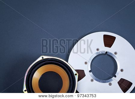 Audio Sound Speaker and Metal Open Reel Objects Collection Set