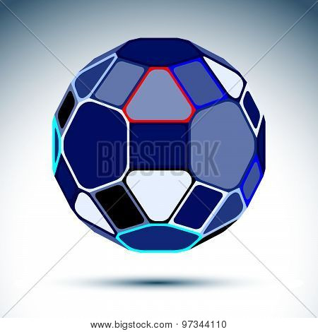 Complicated gray spherical object created from geometric figures, vector illustration, kaleidoscope