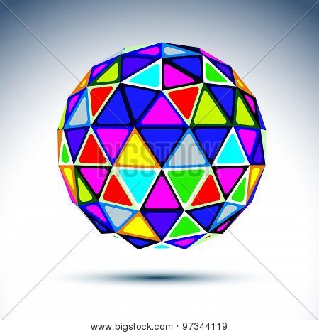 Vector three-dimensional modern abstract object, 3d ball. Psychedelic globe