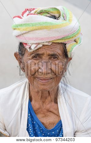 Portrait Old Woman To Bali Island, Indonesia