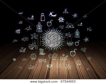 Tourism concept: Sun in grunge dark room