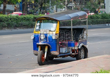 Auto Rickshaw Or Tuk-tuk On The Street Of Bangkok. Thailand