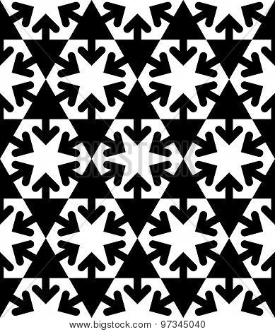 Black and white symmetric textured geometric seamless pattern. Vector contrast textile backdrop