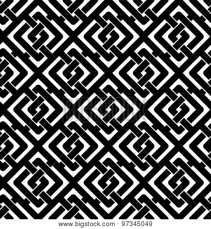 Black and white abstract textured geometric seamless pattern. Symmetric monochrome vector