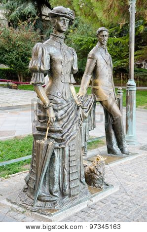 Lady with a dog. Monument to Anton Chekhov in Yalta.