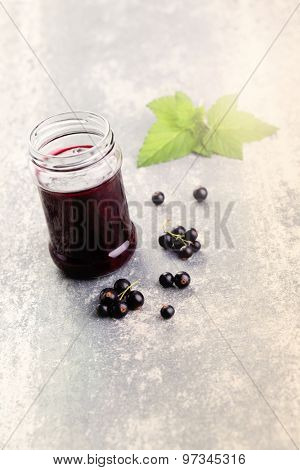 homemade blackcurrant jam - goods in jars
