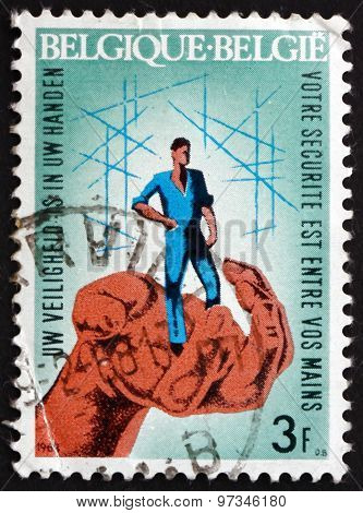 Postage Stamp Belgium 1968 Hand Guarding Worker