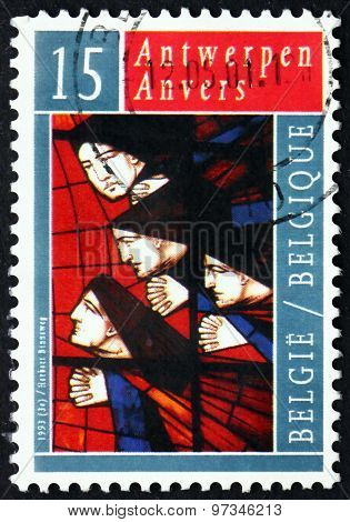 Postage Stamp Belgium 1993 Angels On Stained Glass Window