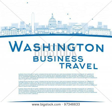 Outline Washington DC city skyline with copy space. Business travel concept. Vector illustration with cloud and sky