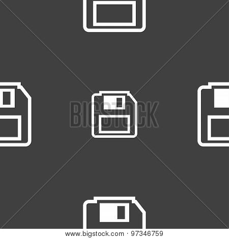 Floppy Disk Icon Sign. Seamless Pattern On A Gray Background. Vector