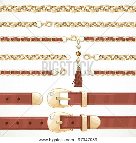 Belt On Chain With A Tassel, Leather Belt Buttoned And Unbuttone