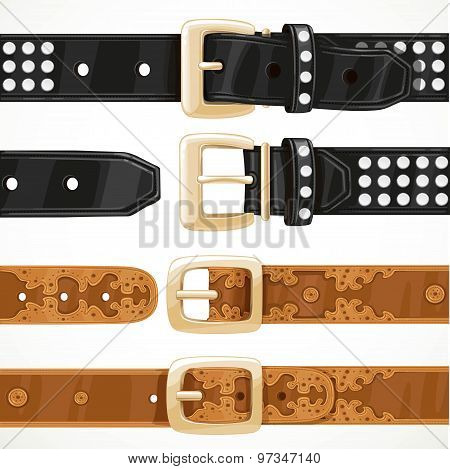 Leather Belts With Rivets And Embroidery Buttoned And Unbuttoned