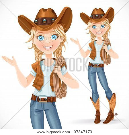 Beautiful Girl In A Cowboy Hat And With Lasso Says Something