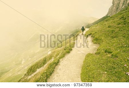 Man trekking in high mountains